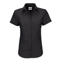 Oxford Shirt Short Sleeve / Women - Black