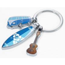 Schlüsselanhänger SURFMATE T1 - blau, mehrfarbig, silber