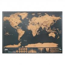 Weltkarte zum Freirubbeln BEEN THERE - beige