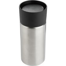Thermobecher Druckverschluss - silber / schwarz