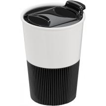 Nachhaltiger Becher ECO M1 - weiß / schwarz