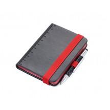 Notizblock DIN A7 inkl. Kugelschreiber LILIPAD+LILIPUT - rot, schwarz