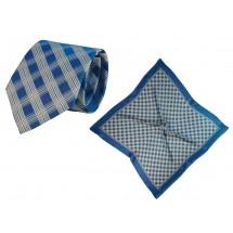 Set (Krawatte, Reine Seide + Tuch, Reine Seide Satin, ca. 53x53 cm) - blau