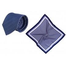 Set (Krawatte, Reine Seide + Nickituch, Reine Seide Twill, ca. 53x53 cm) - blau