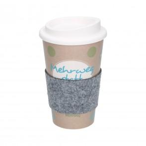"""Kaffeebecher """"Premium"""" mit Filzmanschette"""