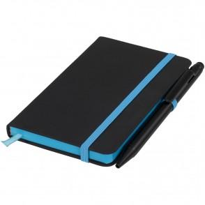 Schwarzes A6 Notizbuch mit farbigem Rand